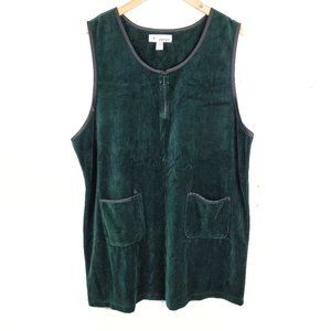 Vintage 90's Green Velour Athletic Jumper Dress